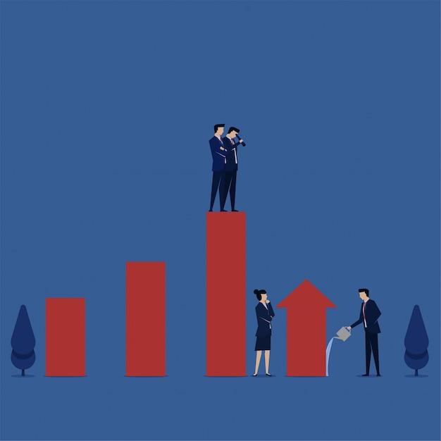 Gerente de concepto de ilustración plana de negocios vigilando el crecimiento de la metáfora del gráfico de barras de gestión del crecimiento. Vector Premium