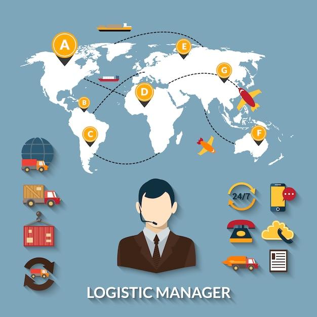 Gerente logístico de infografías vector gratuito