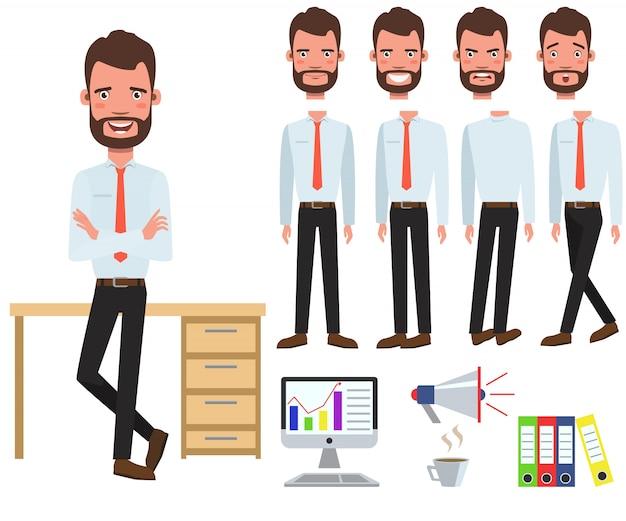 Gerente de oficina masculino en juego de caracteres de escritorio con diferentes poses vector gratuito
