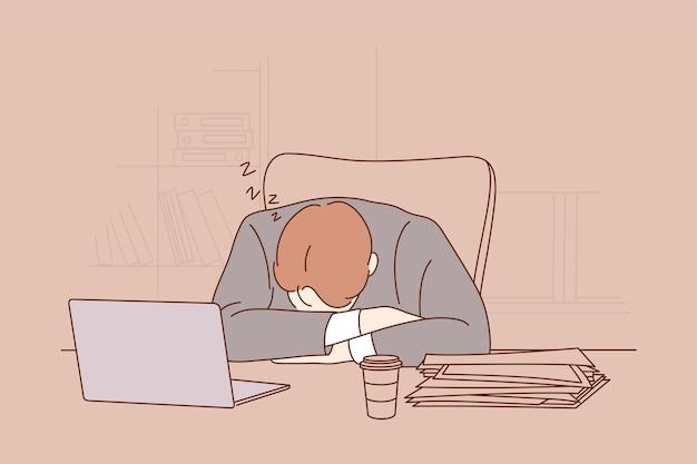 Gerente de oficinista cansado agotado con exceso de trabajo empresario durmiendo tomando la siesta en la mesa de trabajo de oficina Vector Premium