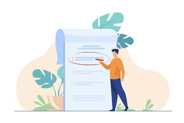 Gerente priorizando tareas en la lista de tareas vector gratuito