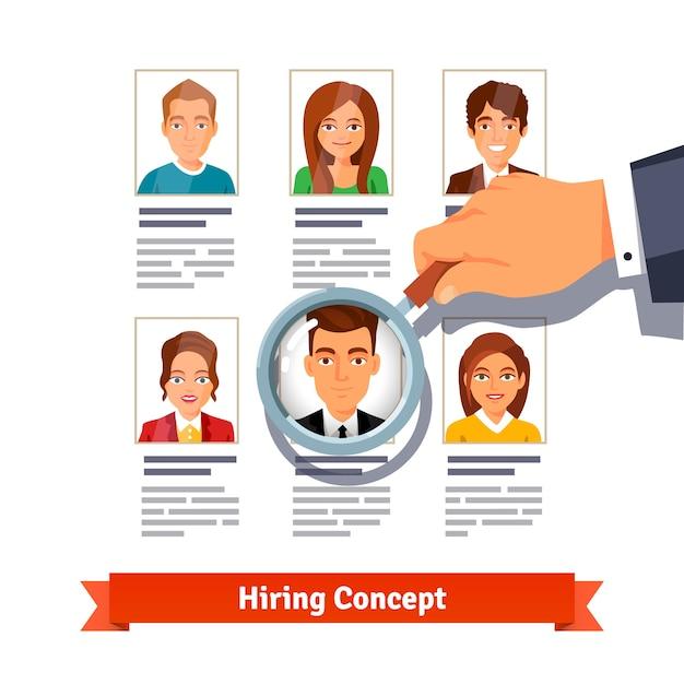 Gerente de recursos humanos buscando a los candidatos. concepto de contratación vector gratuito