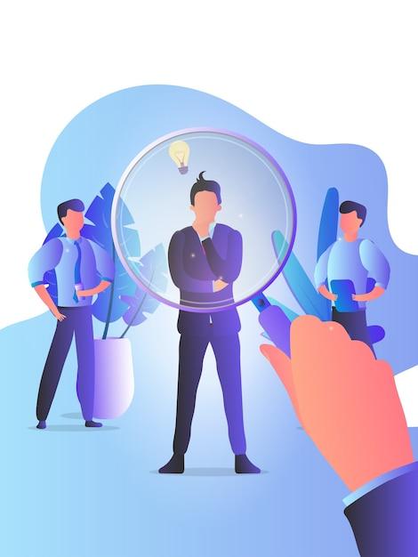 El gerente de recursos humanos está buscando candidatos con una lupa a través de un hombre de negocios. empleados, empleador, entrevista de trabajo, casting. el concepto de caza de cabezas. Vector Premium