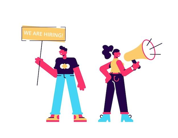 Los gerentes de recursos humanos masculinos y femeninos anuncian una vacante, llevan un cartel con la inscripción que estamos contratando Vector Premium