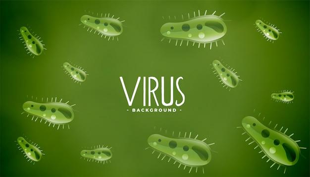Gérmenes microscópicos o virus fondo verde vector gratuito