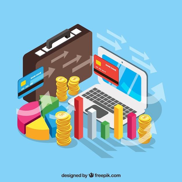 Gestión financiera con perspectiva isométrica Vector Gratis