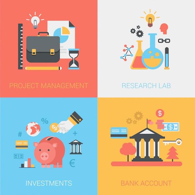 Gestión de proyectos, laboratorio de investigación, inversiones, conjunto de iconos de cuenta bancaria. vector gratuito