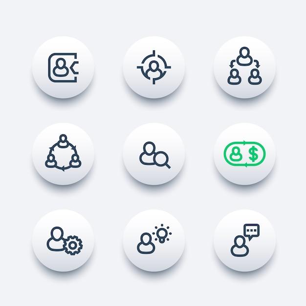 Gestión, recursos humanos, recursos humanos, conjunto de iconos de línea Vector Premium