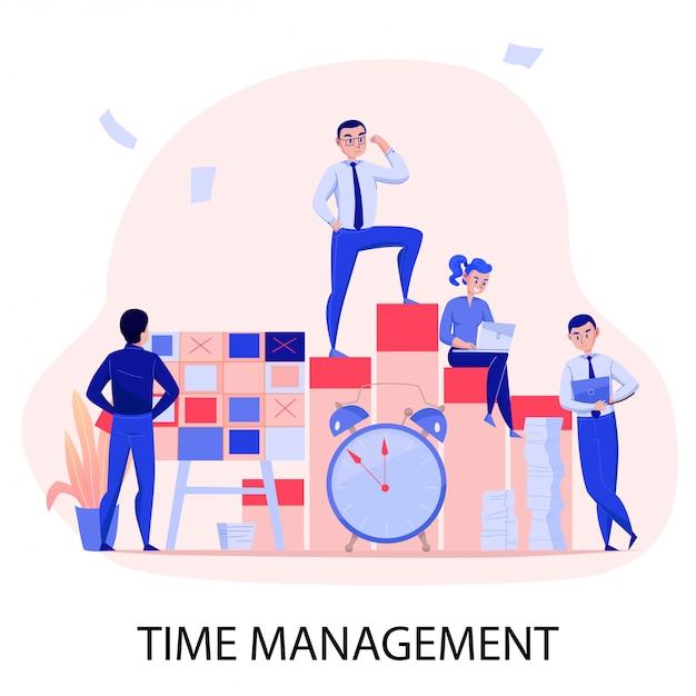 Gestión del tiempo exitoso trabajo en equipo fecha límite superación del estrés con la planificación de tareas control despertador composición plana ilustración vectorial vector gratuito