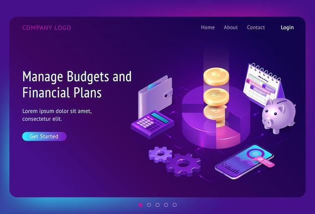 Gestionar banner de presupuesto y planes financieros vector gratuito