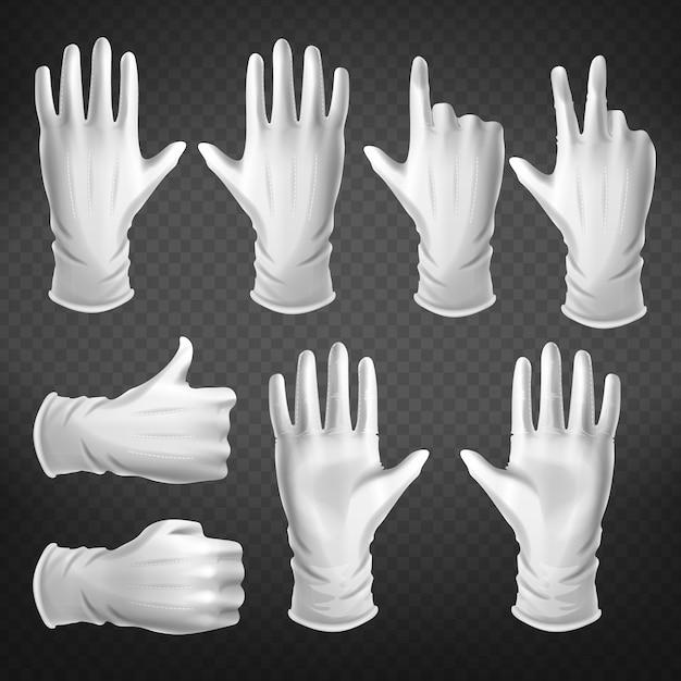 Gestos con las manos en diferentes posiciones aisladas sobre fondo transparente. vector gratuito