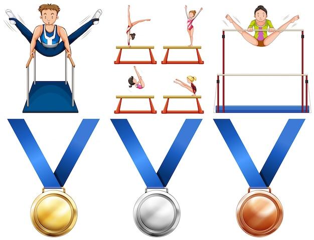 Gimnasia atletas y medallas de deporte ilustración | Descargar ...