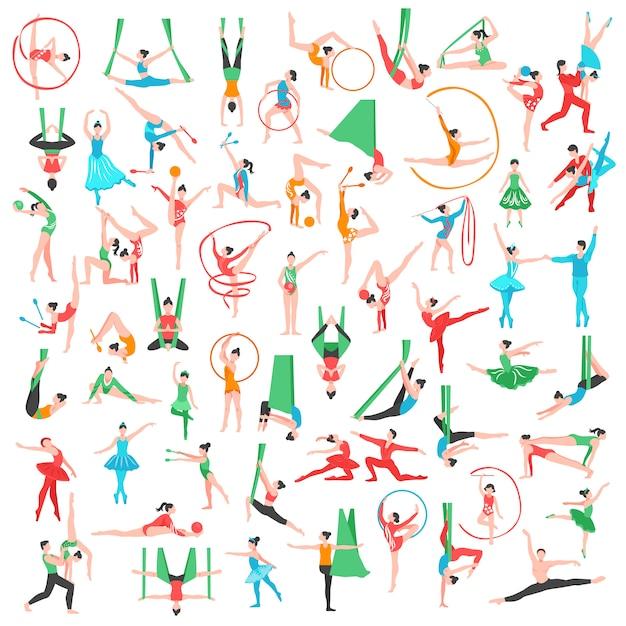 Gimnasia y ballet big set vector gratuito