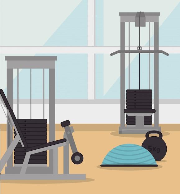 Gimnasio y estilo de vida fitness. Vector Premium