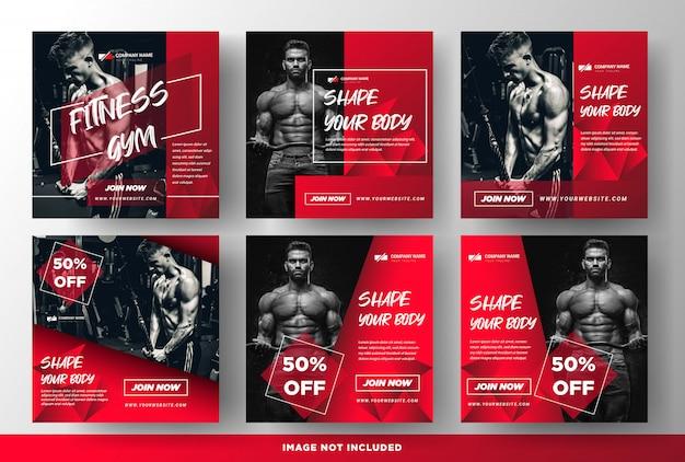 Gimnasio fitness promoción medios publicaciones sociales plantillas Vector Premium