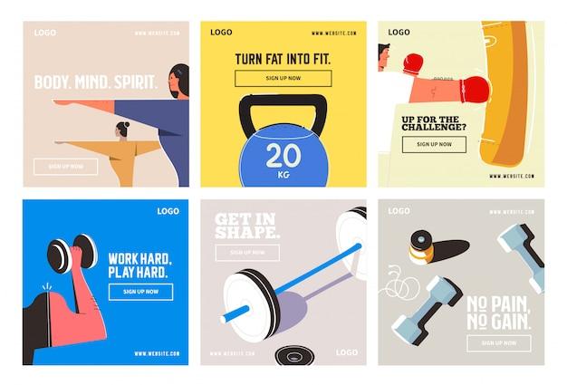 Gimnasio fitness redes sociales post colección instagram Vector Premium