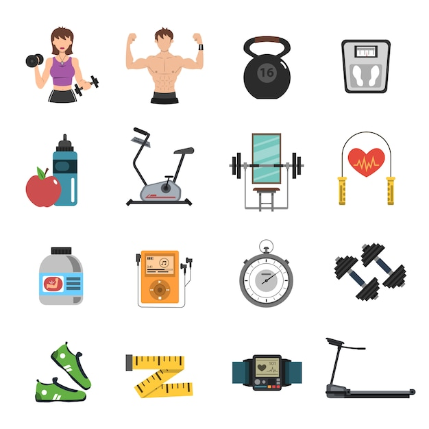 Gimnasio icon flat set vector gratuito