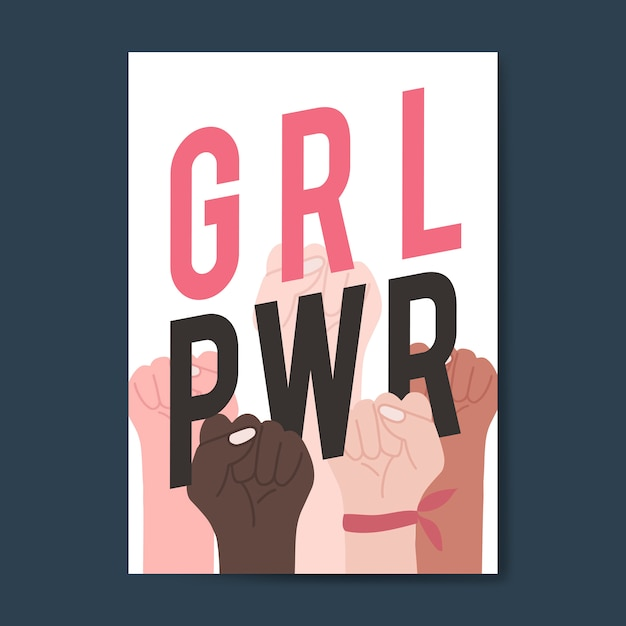 Girl power con diversos puños vectoriales. vector gratuito