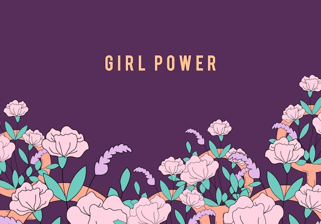 Girl power en vector de fondo floral vector gratuito