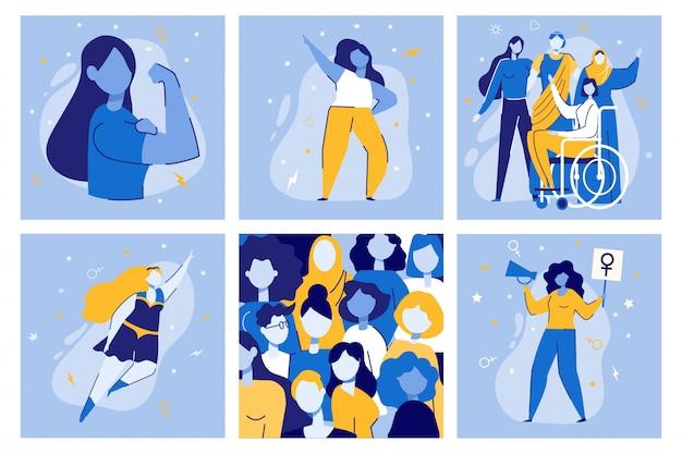 Girl power women together movimiento feminista lucha Vector Premium