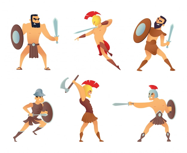Gladiadores con espadas. luchando personajes en acción plantea. Vector Premium