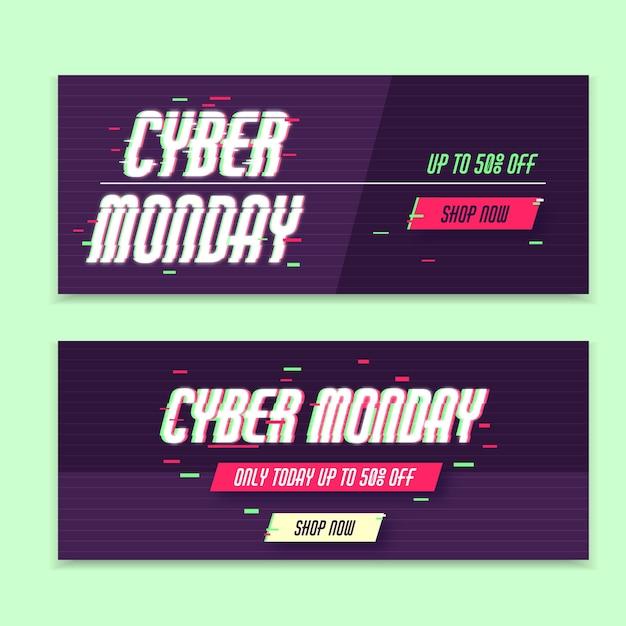 Glitch banners de lunes cibernético vector gratuito