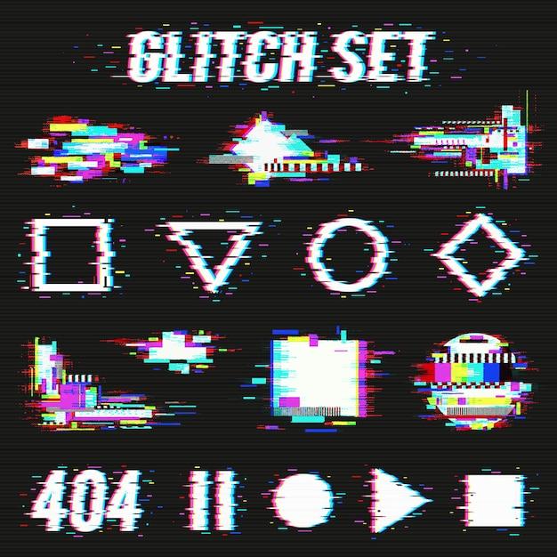 Glitch set sobre fondo negro vector gratuito