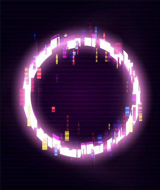 Glitched circle frame design. distorsionado glitch style fondo moderno. diseño de resplandor para diseño gráfico: pancarta, póster, folleto, folleto, tarjeta. ilustración. Vector Premium