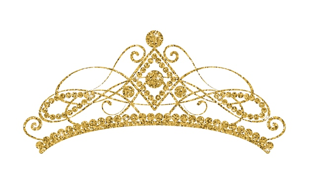 Glittering Diadem. Tiara Dorada Aislada En El Fondo Blanco