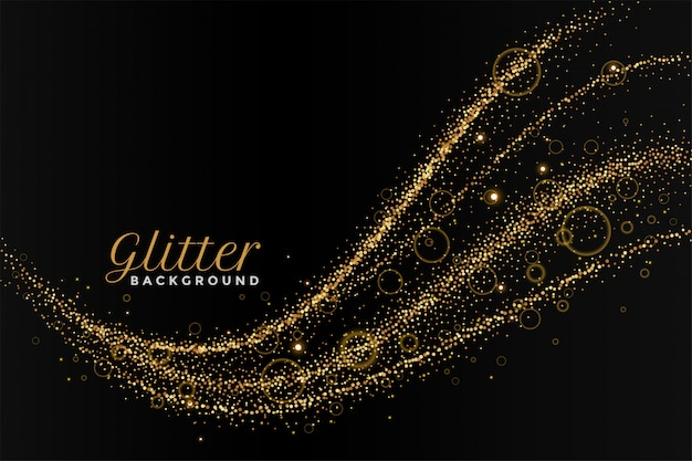 Glitterting polvo rastro dorado fondo negro vector gratuito