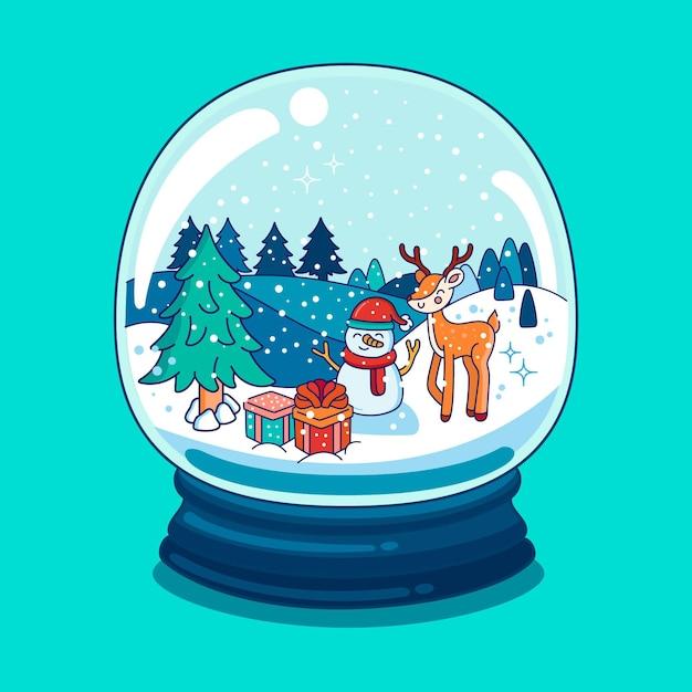 Globo de bola de nieve de navidad dibujado con muñeco de nieve y renos Vector Premium