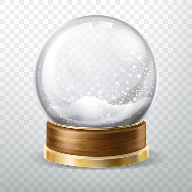 Globo de cristal realista con nieve caída vector gratuito