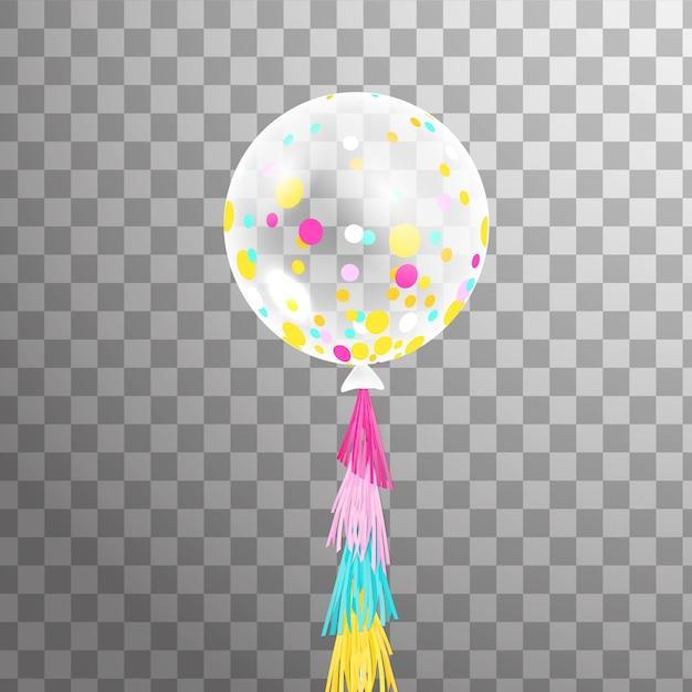 Globo De Helio Transparente Blanco Con Confeti De Colores Aislados En El Aire Decoración De Globos De Fiesta Esmerilada Vector Premium