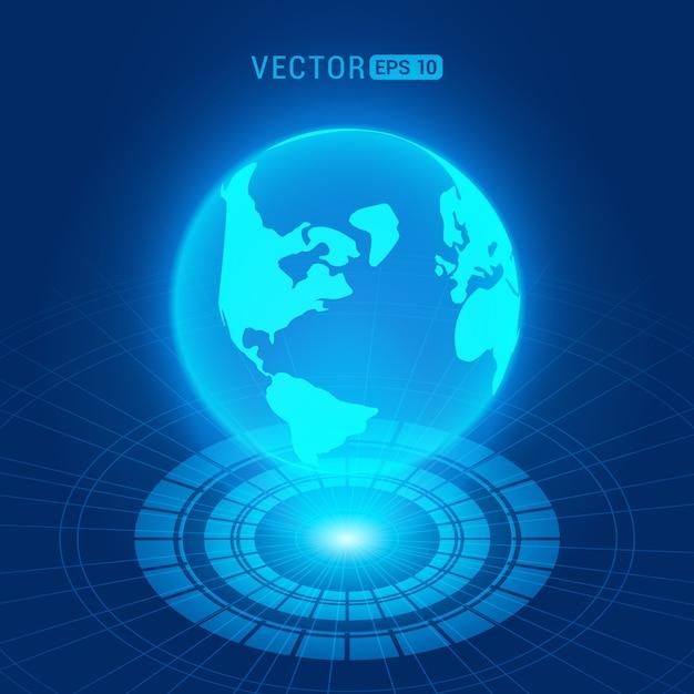 Globo holográfico con continentes contra el fondo abstracto azul oscuro con círculos y fuente de luz Vector Premium