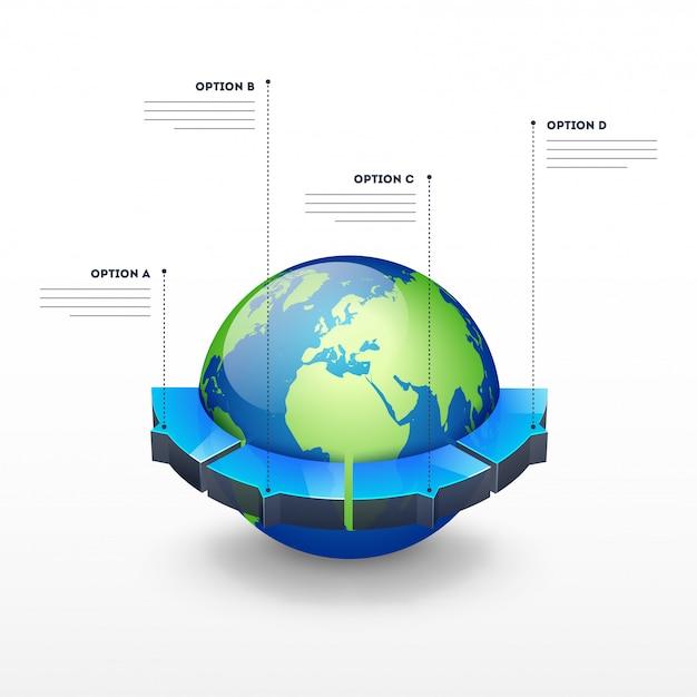 Globo terráqueo 3d con cuatro opciones para la plantilla de infografía empresarial Vector Premium
