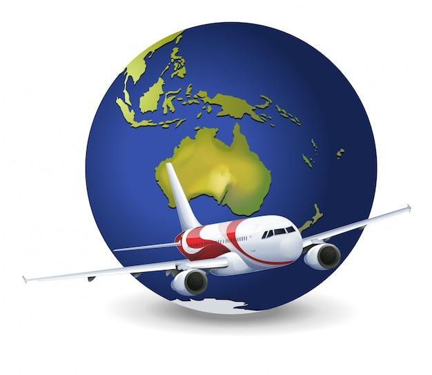 Globo terráqueo y avión vector gratuito
