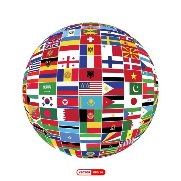 Globo terráqueo de banderas vector gratuito