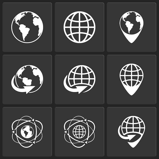 Globo terráqueo mundo iconos vector blanco sobre negro vector gratuito