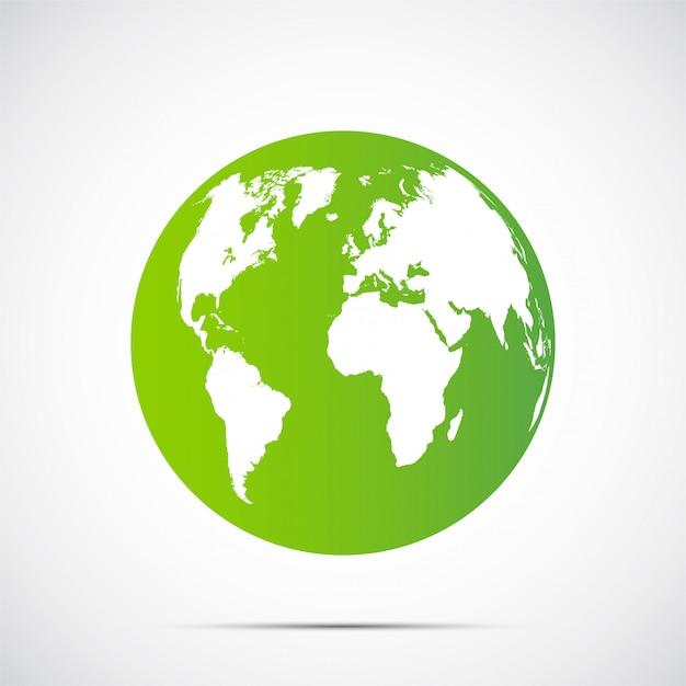 Globo verde hermosa sombra sobre fondo negro Vector Premium