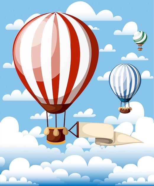 Globos aerostáticos. globo rojo con cinta en el cielo azul. ilustración con nubes en el fondo. página web y aplicación móvil Vector Premium