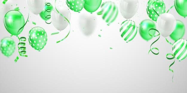Globos blancos verdes Vector Premium