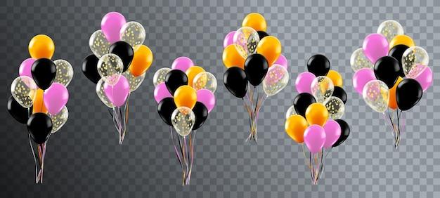 Globos de celebración realista. fiesta de cumpleaños de helio o decoración de boda, manojo de globos de colores, conjunto de ilustraciones de globos brillantes. globo de manojo realista, regalo volador para bodas. Vector Premium