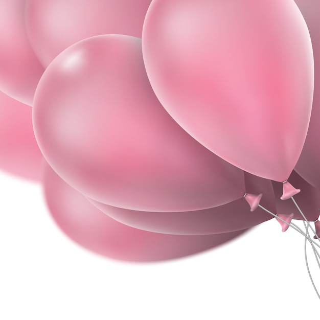 Globos de color rosa brillante. Vector Premium
