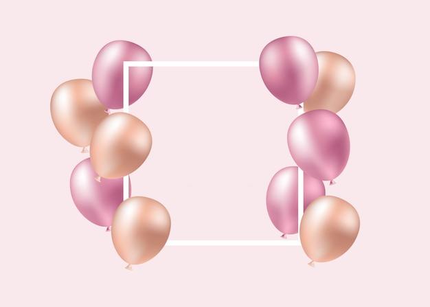 Globos de color rosa, fiesta, cumpleaños. ilustración de una tarjeta en blanco con globos rosas Vector Premium