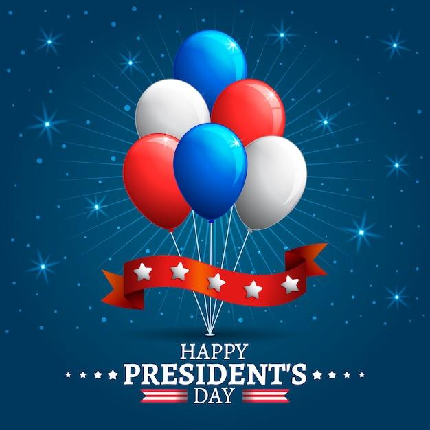 Globos de colores del día del presidente vector gratuito