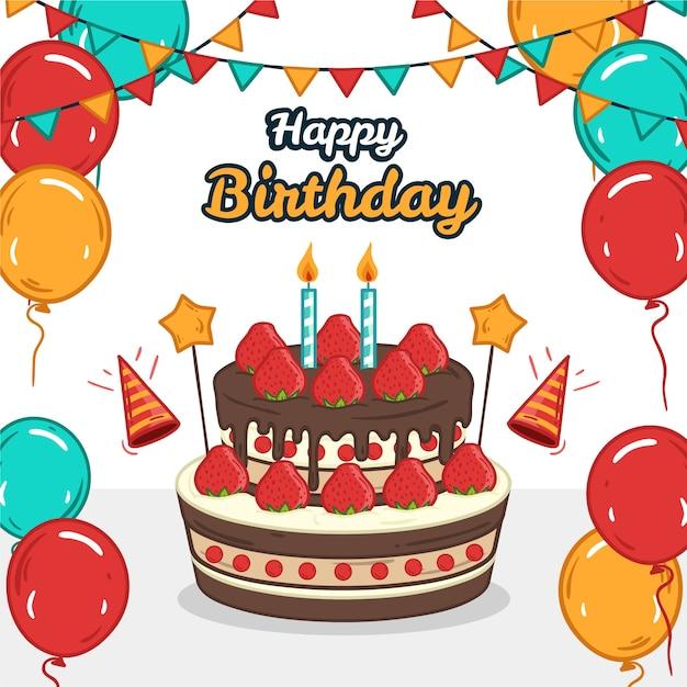 Globos de colores y guirnaldas con pastel de feliz cumpleaños vector gratuito