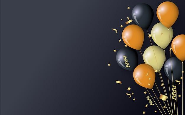 Globos y confeti dorados y negros Vector Premium