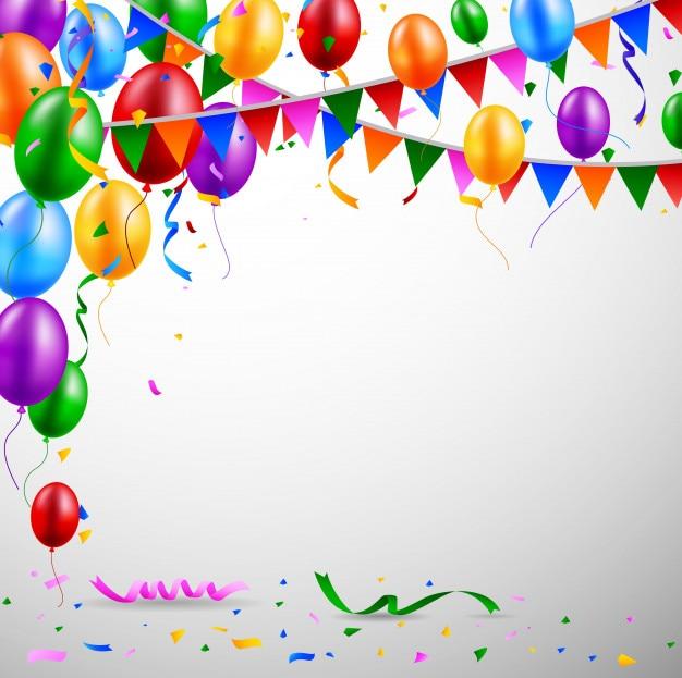 Globos y confeti para fiestas de cumpleaños Vector Premium