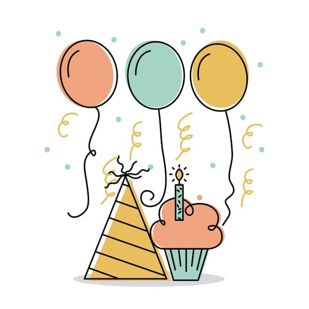 Globos de decoración de vela y sombrero de cupcake de cumpleaños ...