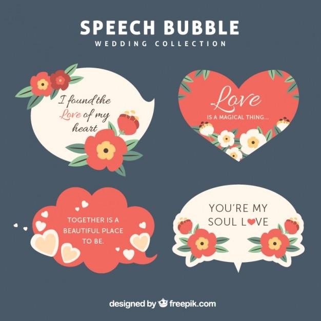 Globos De Dialogo Vintage Con Frases De Amor Descargar Vectores Gratis